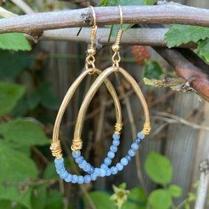 Jewelry - Boho Gold and blue stone beaded earrings NEW